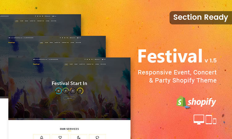 Festival - Responsive Event, Concert & Party Shopify Theme (Sections Ready)