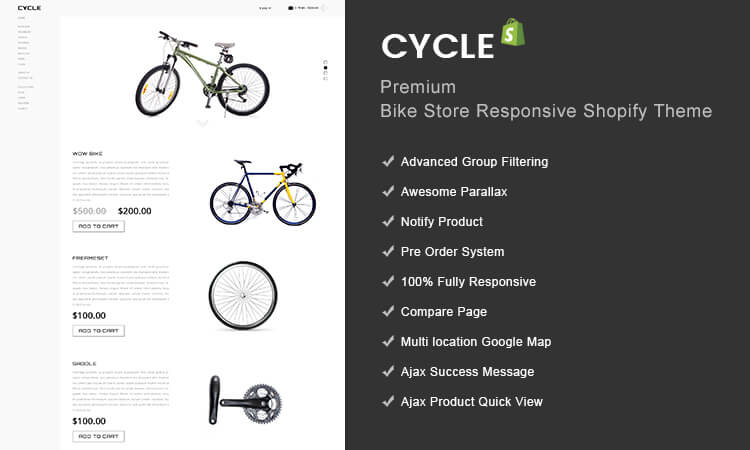 cycle premium bike store responsive shopify theme themetidy. Black Bedroom Furniture Sets. Home Design Ideas